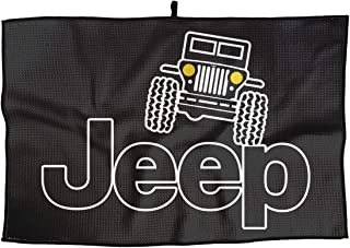 Hong Yi Fang Superfine Fiber Golf Towel Jeep Logo Sports Gym Yoga Towel - Quick Dry Fitness Towel for Sports/Golf Workout/Gym/Yoga/Pilates/Travel/Camping