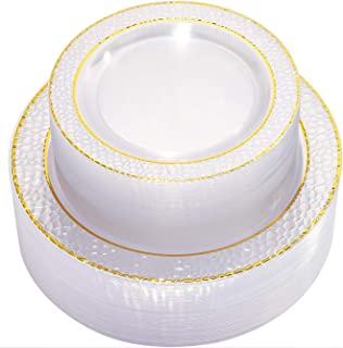 NERVUREGold Plastic Plates - Clear Crystal Design Disposable Wedding Party Plastic Plates Include 51 Plastic Dinner Plates 10.25 inch,51 Salad/Dessert Plates 7.5 inch