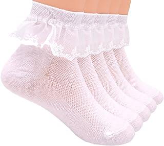 Sept.Filles Socks Girl's Socks Lace Top Anklet Socks Packs of 5