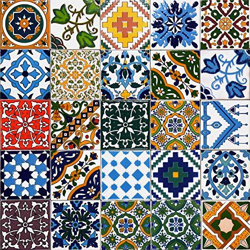25 Mattonelle MISTE in ceramica smaltata. Pacco contenente 25 mattonelle decorate 10 X 10 cm spessore 0,6 cm - Mattonelle Tunisine realizzate con Serigrafia Artigianale. Adatte a rivestimento.