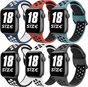 [6 Pack] Bands Compatible with Apple Watch Bands 42mm 44mm Series 6 5 4 3 2 1 & SE, Soft Silicone Replacement Wristbands Compatible for iWatch Series SE 6 5 4 3 2 1 (6 Pack B, Large)