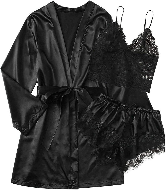 3Pcs Silk Pajamas Set for Women, Women's Sleepwear Floral Lace Trim Satin Cami Pajama Set with Robe