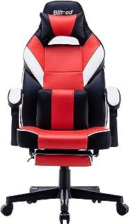 كرسي ألعاب من جلد البولي يوريثان قابل للتعديل بارتفاع المقعد ومسند خلفي بتصميم مريح من BLITZ، قابل للتعديل (بودجيت مونستير...