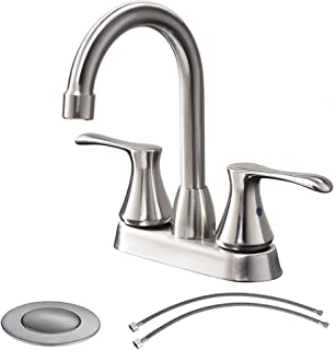 Comllen Modern Stainless Steel Double Handle Basin Vanity Bathroom Faucet, Brushed Nickel Bathroom Faucet With Pop Up Drain and Hot & Cold Water Hose
