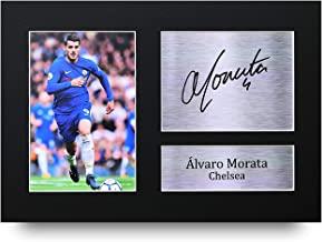 HWC Trading Alvaro Morata A4 Sin Marco Regalo De Visualización De Fotos De Impresión De Imagen Impresa Autógrafo Firmado por Chelsea Los Aficionados Al Fútbol