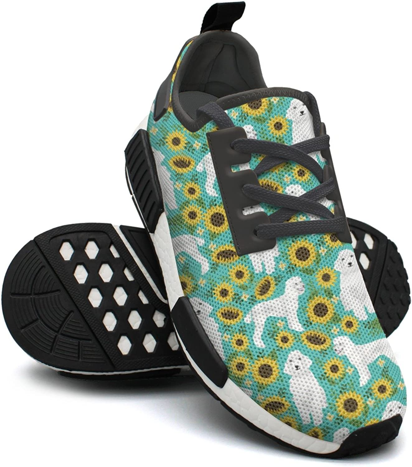 White Poodle Dog and Sunflowers Pattern Women's Designer Lightweight Sneaker Gym Outdoor Boat shoes