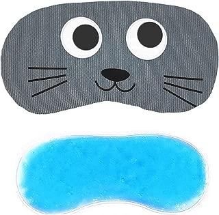 Jenna Line Cartoon Polyester Ice Gel Eye Mask for Insomnia, Meditation, Puffy Eyes and Dark Circles - Grey