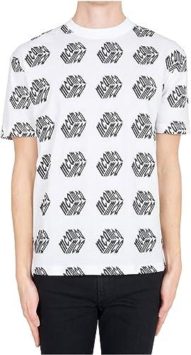 MCQ Alexander McQueen Shirt Manches Courtes Ras du Cou Homme Blanc