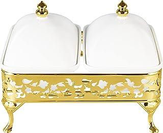 وعاء خزفي مزدوج ماجستيك 13 مع قاعدة تسخين بلون ذهبي من لاميسا