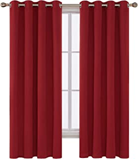 Deconovo Room Darkening Curtains Grommet Top Thermal Insulated Blackout Curtains for Bedroom 52x72 Inch True Red 2 Panels