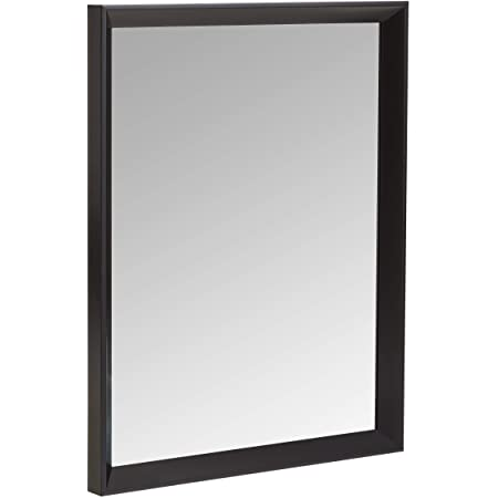 Amazon Basics Miroir mural rectangulaire, 40,6 x 50,8 cm - Encadrement biseauté, Noir