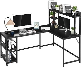 Bureau d'angle en forme de L en forme de L 170 x 120 x 74 cm, table d'angle avec compartiments de rangement, grande table ...