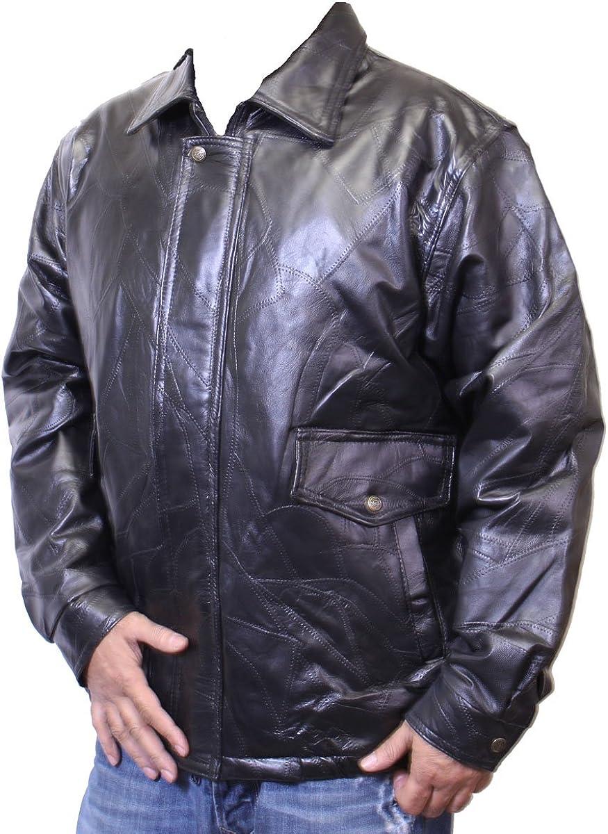 Men's Basic Bomber Jacket Genuine Lamb Patch Leather -287394
