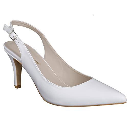 4cbde55d9a50 MaxMuxun Womens Pointed Toe Slingback Kitten Heel Dress Wedding Court Shoes
