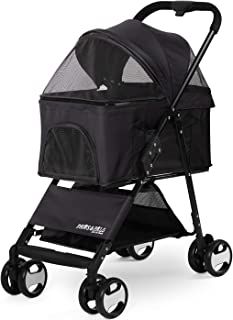 Paws & Pals Dog Stroller Easy Walk Folding Travel Carriage for Pets & Cats with Detachable Carrier - Black