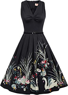 Belle Poque Sleeveless Vintage Tea Dress with Belt 1950s Dresses for Women