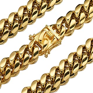 Mens Heavy Duty Cuban Chain Solid 18K Gold Plated Necklace Bracelet 8/10/12/14/16/18mm Stainless Steel Men's Women's Necklace