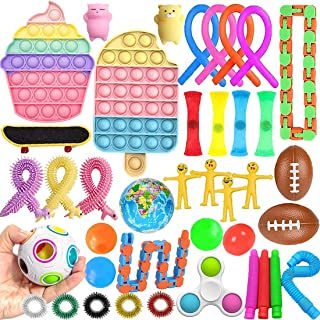 40 pcs Fidget Toys Set, Stress Relief Hand Toys for Adults and Kids Sensory Toys Pop Push Bubble, Figetget Toys Pack for S...
