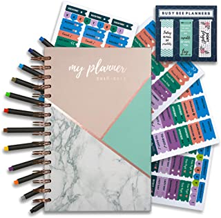 Planner 2019   weekly monthly planner with bonus pens and stickers!   Achieve your  goals and improve productivity!   Busy Bee Planners