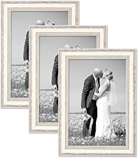Photolini Set of 3 Picture Frames with Dimensions of 8 x 10 Inch, in White, Country-House-Style, Solid Wood, Including Accessories/Shabby-Chic with Acrylic Glass