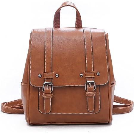 Unisoul Damen Rucksäcke PU Leder Casual Daypack Schulrucksäcke Tasche Leichter Reisetagesrucksack Vintage Schultertasche Daypack 2 in 1 für Schule Reisen Arbeit