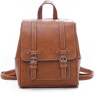 Unisoul Damen Rucksäcke PU Leder Casual Daypack Schulrucksäcke Tasche Leichter Reisetagesrucksack Vintage Schultertasche D...