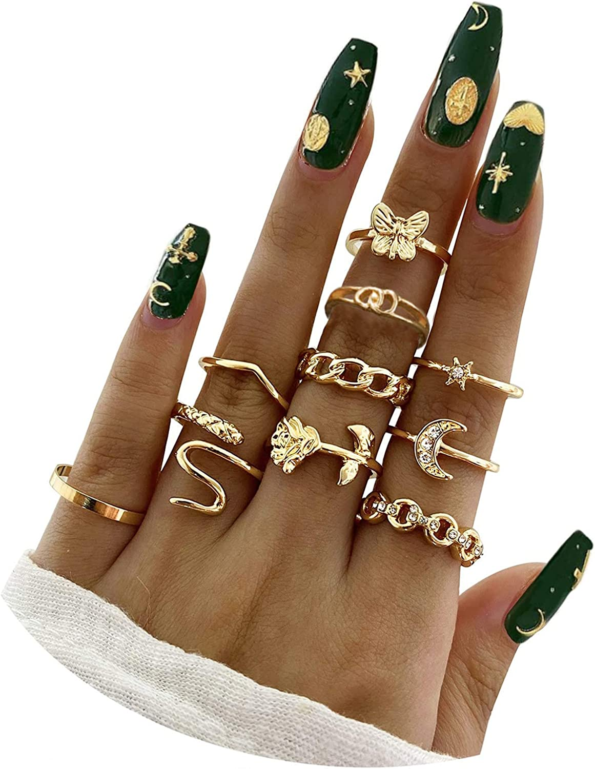 19 PCS Knuckle Rings Set Stackable For Women And Girls Butterfly Rose Moon Snake Rings Animal Open Ring Stacking Ring Joint Knuckle Ring Set