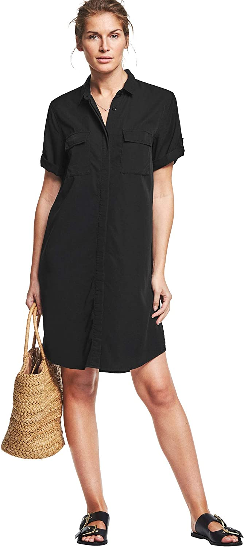 ellos Women's Plus Size Button Front Linen Shirtdress Dress