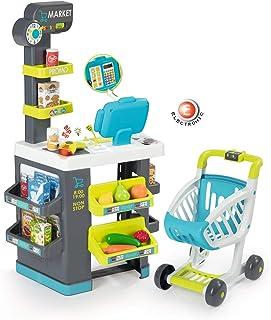 Smoby - Marchande - Supermarché pour Enfant - Chariot de Course Inclus - Vraie Calculatrice - 34 Accessoires - 350212