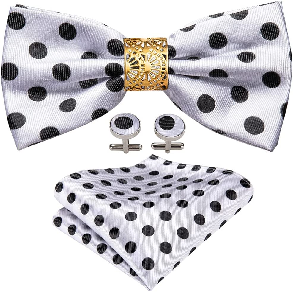 CDQYA White Dot Silk Bow Tie For Men Wedding Accessorie Adjustable Butterfly Handky Removable Gold Ring Set (Color : White Dot, Size : One size)