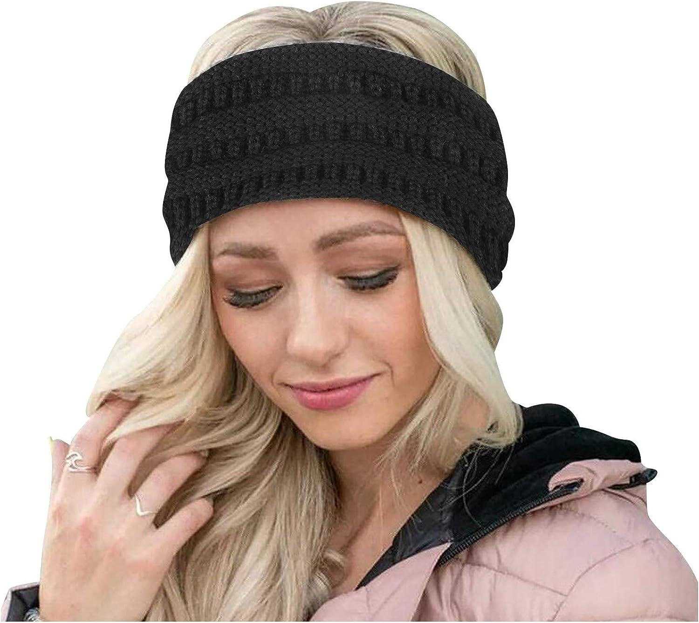 Winnerlink Keep Warm Knitting Headband - Cable Knited Handmade Sport Hairband Cover Ears Fleece Lined Hairband Soft Stretch Crochet Head Warmer Head Wrap for Women Girls Winter (Black, 22X11cm)