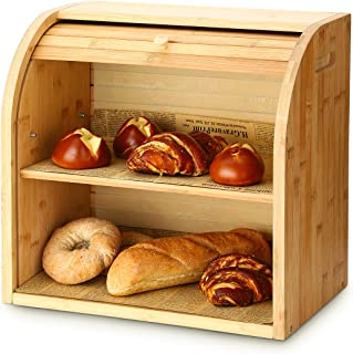 Bread Box, G.a HOMEFAVOR 2 Layer Bamboo Bread Boxes for Kitchen Food Storage, Large Capacity Bread Keeper Roll Top with Removable Layer, 15