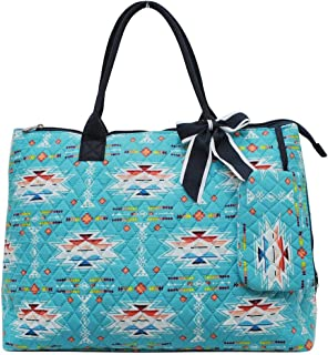 NGIL Quilted Cotton Extra Large Overnight School Tote Bag 2018 Spring Collection (Southern Aztec Serape Navy)