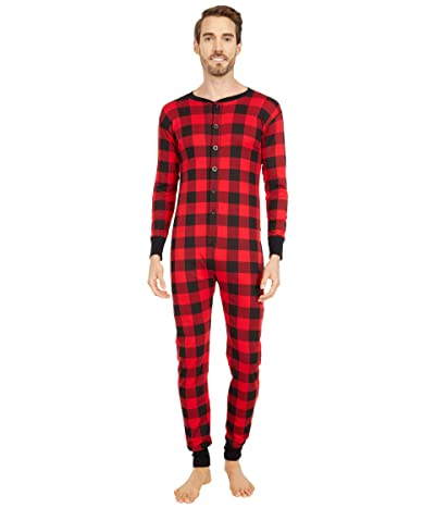Little Blue House by Hatley Moose on Plaid Adult Union Suit One-Piece (Red) Pajama Sets