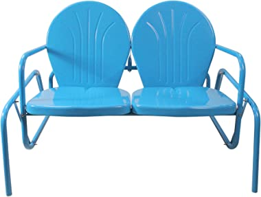 Northlight 47-Inch Outdoor Retro Tulip Double Glider Chair, Turquoise Blue