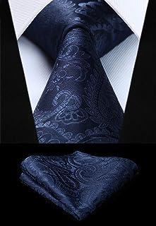 HISDERN Paisley Floral Corbata para hombre y juego de bolsillo cuadrado para boda business professional classic