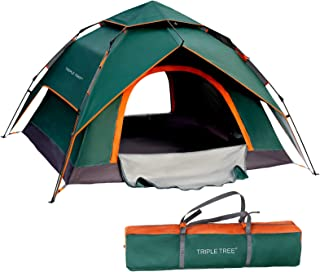 TRIPLE TREE 4 Person Pop Up Tent Family Camping Tents Waterproof Windproof and Sun Protection Tents Two-Layer Multifunctio...