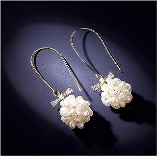 OMING Earring Niche Design Freshwater Pearl Earrings Girl Long Temperament Earrings Korean Net Red Ear Hooks Retro Elegant...