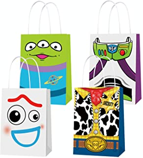 Toy Inspired Story Party Supplies, Party Favor Goodie Gift Bags, Including 4 Patterns Double Sided Printed Ideal for Kid B...