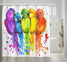 NYMB Parrots Décor Shower Curtain, Jungle Colorful Birds on Tree Branches Watercolor Illustration Shower Curtain for Bathroom, Watercolor Fabric Bath Curtains Hooks Included, 69X70 inches