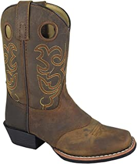 Smoky Mountain Childs Western Sedona Saddle SQ Toe Boots Brown Distress/True Timber Camo