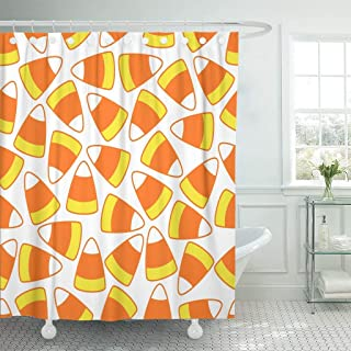 GETTOGET Colorful Autumn Halloween Party Candy Corn Ornamental Pattern on White Bright Celebration Shower Curtain Bathroom Sets Hooks,Waterproof Polyester Curtain