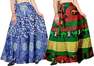 Silver Organisation Women's Jaipuri Rajasthani Sanganeri Printed Cotton Wrap Skirt (Multicolour) Pack of 2 Pcs