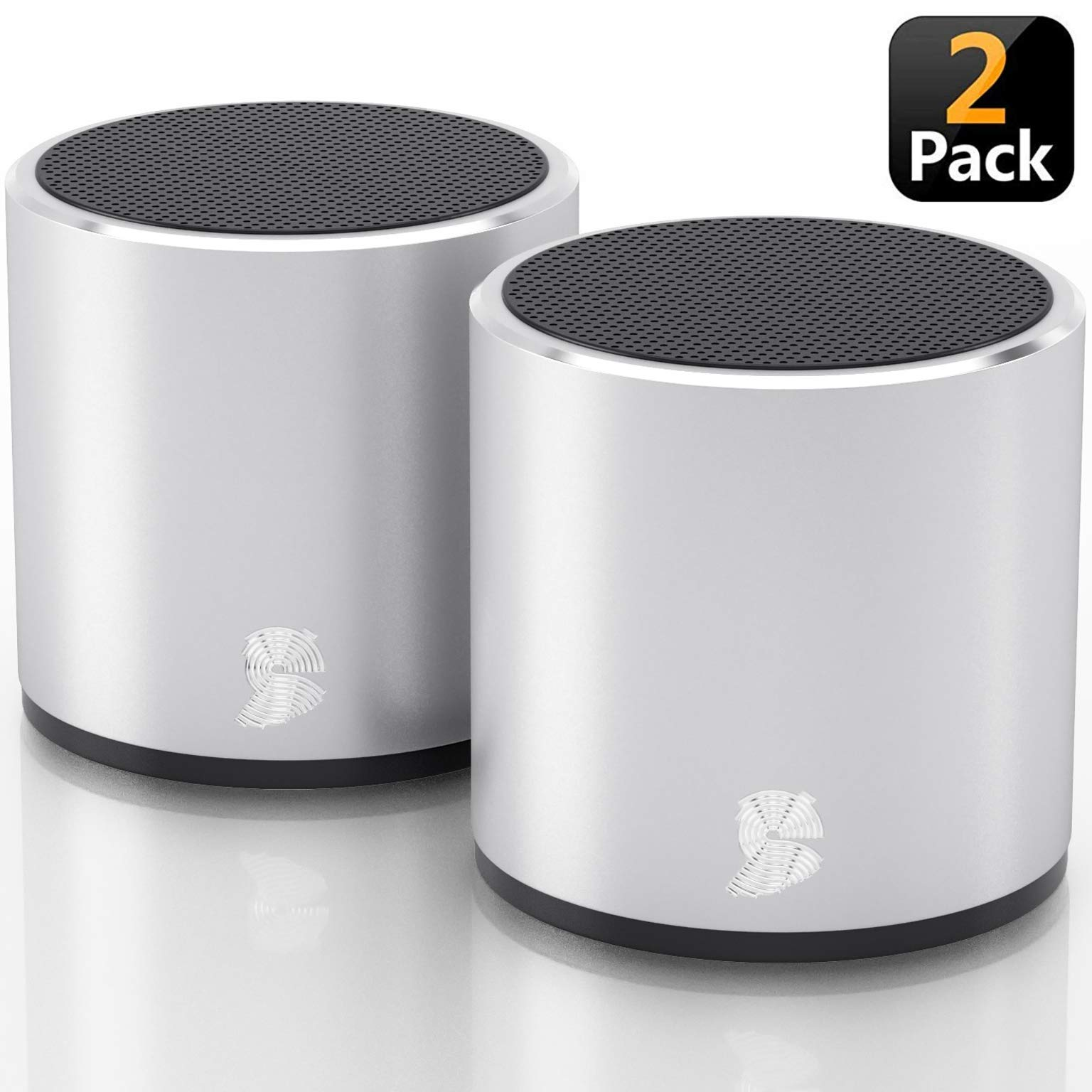 Amazon Com 2 Pack Headsound H2 True Wireless Bluetooth Speakers Latest Powerful Dual Twin Portable Mini Speaker Set W Surround Hd Sound Instant Pairing With Built In Mic For Handsfree Calls For Home Silver