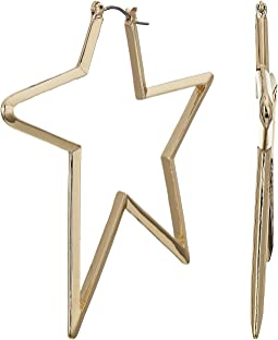 Gold Tone Star Hoop Earrings