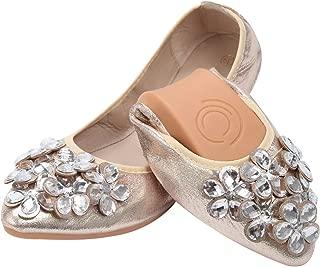 KUNSHOP Women Ballet Flats Rhinestone Wedding Ballerina Shoes Foldable Sparkly Bridal Slip on Flat Shoes