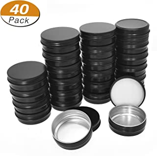 Aybloom Aluminum Tin Cans - 40 Pack 1OZ / 30G Round Metal Tin Container Screw Top Steel Tin Cans Cosmetic Sample Containers Candle Travel Tins