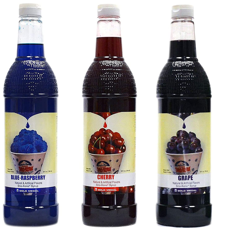 Concession Essentials Snow Cone Syrup (25 Fl Oz)- Pack of 2 - Cherry & Blue Raspberry