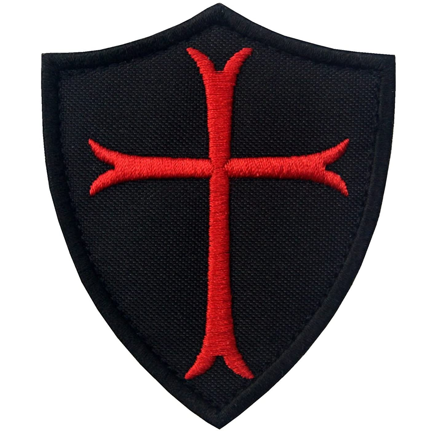 Knights Templar Cross Shield Military Morale Embroidered Fastener Hook & Loop Patch - Black & Red