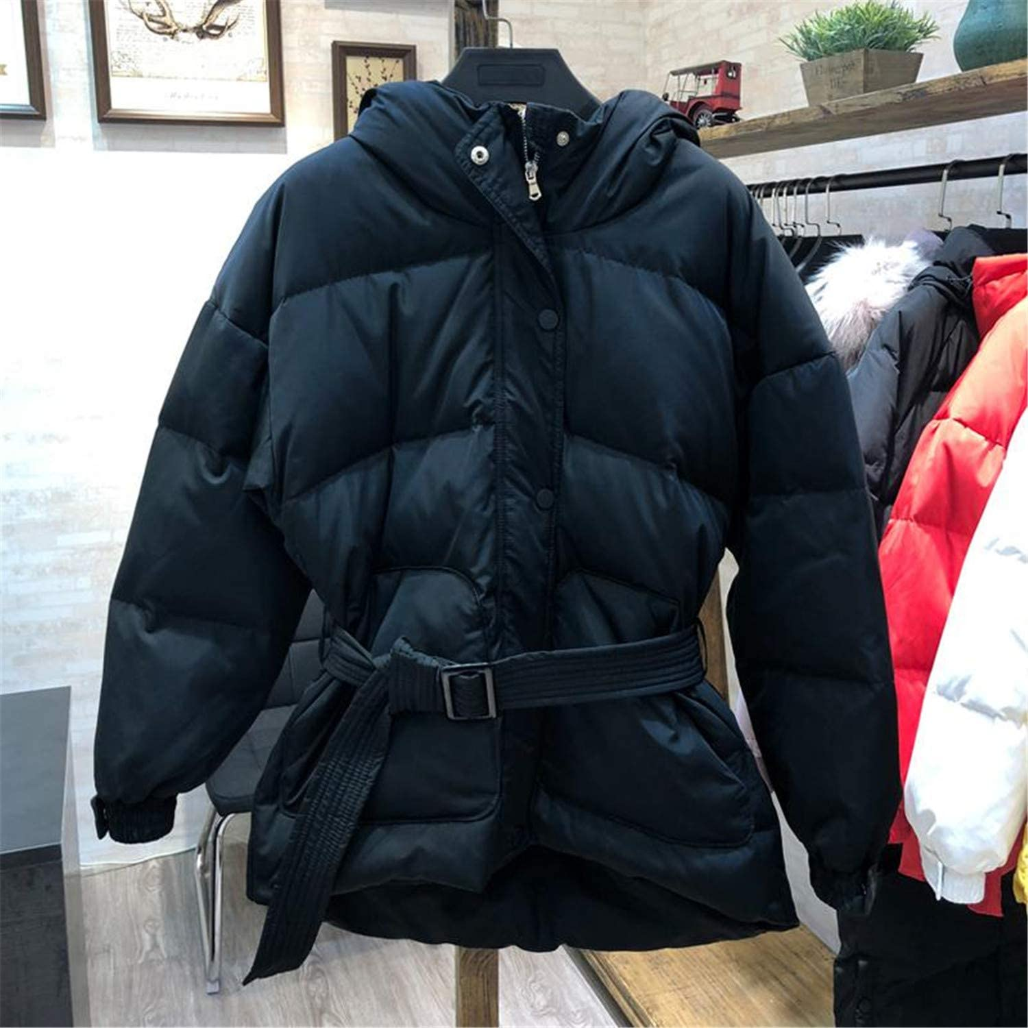Aancy Ultra Light Down Jackets Women Winter Slim Hooded Duck Down Coats Parkas with Belt Black Pink Red Snow Outwear